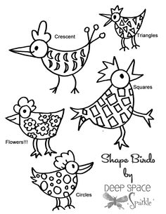 shape birds, kindergarten lesson to teach shapes.... kids love it!