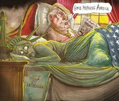 Good morning, America Cartoon - Donald Trump in bed the morning after a night with Miss Liberty Trump Cartoons, Political Cartoons, Donald Trump, Humor Videos, Trump Wins, Vote Trump, Humor Grafico, Good Morning America, Troll