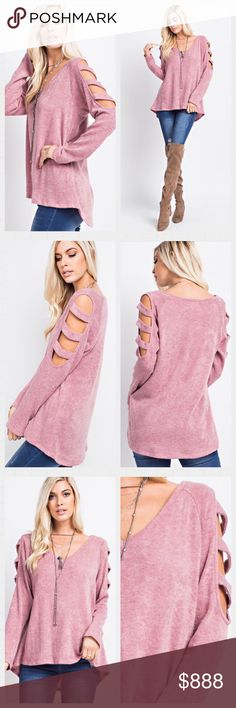 💕COMING DEC 29💕Mauve Ladder Sleeve Top. S-M-L Loose Gauge Knit V-Neck Top Features Cold Shoulder Sleeves With Multiple Band Detail. Available in S-M-L Made in USA 🇺🇸 Tops Tunics