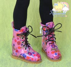Doll Shoes Martin Lace-Up Stitching Boots Flowers on Pink for MSD BJD Dollfie/Kaye Wiggs dolls