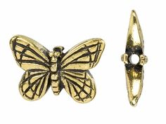 TierraCast Antique Gold-Plated Pewter Monarch Butterfly Bead
