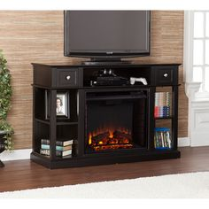 Hawkings Point 59 5 in Rustic Media Console Electric Fireplace in