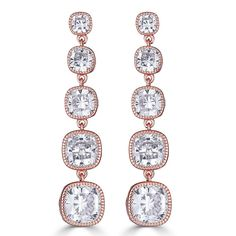 Lucille Graduated Drop Earrings Rose Gold from Perfect Details / Blushing Bride Rose Gold Earrings, Wedding Earrings, Unique Earrings, Statement Earrings, Dangle Earrings, Diamond Earrings, Cubic Zirconia Earrings, Cushion Cut Diamonds, Silver Necklaces