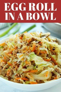 Egg Roll in a Bowl - quick and easy low-carb dinner made with ground chicken, pork or turkey, coleslaw mix, more veggies and Asian sauce. Everything cooks in one pan, in just 15 minutes. #dinner #lowcarb #keto #eggroll