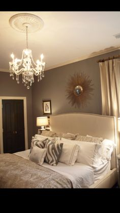 Master bedroom-love- I want a chandelier in my new room! Dream Bedroom, Home Bedroom, Pretty Bedroom, Tan Bedroom, Modern Bedroom, Bedroom Neutral, Contemporary Bedroom, Bedroom Furniture, Bedroom Romantic