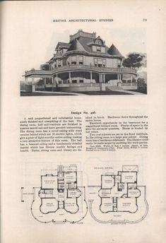 Keith's architectural studies, no.8 Victorian House Plans, Vintage House Plans, Victorian Homes, Vintage Houses, Architectural Floor Plans, Architectural Prints, Modern Architecture Design, Historic Architecture, Cost To Build