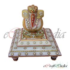 Lord Ganesha Marble Statues with Chowki are widely demanded by the clients for their precise looks and beautiful appearance. Our products are available in plethora of sizes and designs that are carved with hands.