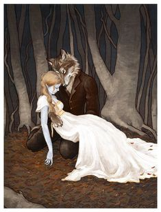 "Amazing Fairy Tale Art from a Biology PhD. ❤️ ""The Wolfman"" by ""bluefooted"" (Erin) on deviantart"