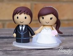 Cute wedding cake topper  Bride in tulle dress by GenefyPlayground, £133.00