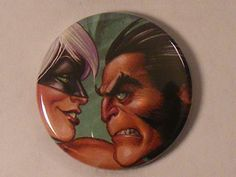 """Comic Book 1.5"""" Button// Wolverine and Black Cat, $1.00. Love this style"""