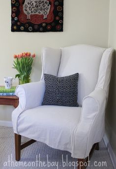 How To Make A Slipcover For A Wing Back Chair @ Http://athomeonthebay