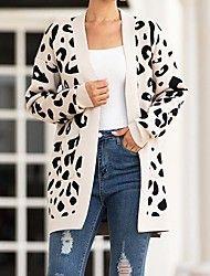 Naisten Leopardi Pitkähihainen Neule Neulepusero, Kaulukseton Vaaleanharmaa / Tumman harmaa / Beesi S / M / L Duster Coat, Kimono Top, Jackets, Tops, Women, Fashion, Down Jackets, Moda, Fashion Styles