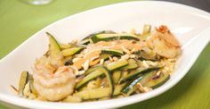 Pasta with scampi's, courgette and sauce