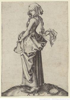 Schongauer [Cinquième Vierge folle] : [estampe] / MS [M. Schongauer] [monogr.]