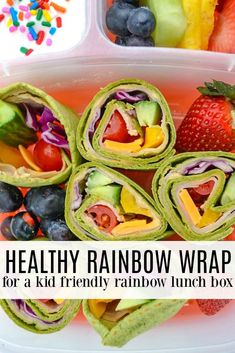 This rainbow lunch box is so fun- and an easy way to encourage kids to try new veggies. With a rainbow wrap full of colorful vegetables and flavorful hummus, kids can't resist taking a bite. Lunch Snacks, Healthy Snacks, Healthy Eating, Healthy Recipes, Wrap Recipes, Lunch Recipes, Colorful Vegetables, Veggies, Kids Meals