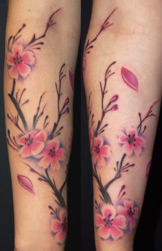 cherry blossom tattoo on arm for women | Off the Map Tattoo : Tattoos : Half-Sleeve : Cherry Blossom Tree