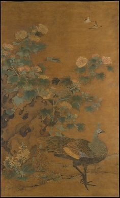 Bian Lu (Chinese, died 1356). Peacock and Hollyhocks. Yuan dynasty (1271–1368), mid-14th century. China. The Metropolitan Museum of Art, New York. Purchase, The Dillon Fund and The B. Y. Lam Foundation Gifts, 1995 (1995.186) #peacock