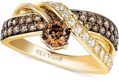 LeVian Le Vian Chocolate and White Diamond Crossover Ring in 14k Gold (1-1/4 ct. t.w.)