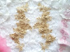 3D Embroidered Appliques Gold Beige Floral Venice Lace Mirror Pair Appliques can be used to adorn any costume or evening gown, including bridal gowns.  Other uses for our appliques are crafts and sewing projects of all kinds.  You will also find our products used in Home Decor.  Used by so many because of the ease of application. Simply sew or glue on.  Add to our appliques sequins or rhinestones if you want a little sparkle or bling.  These appliques have a beautiful shine and are so…
