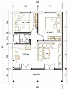 2 Bedroom House Plans, Cabin House Plans, Duplex House Plans, Apartment Layout, Apartment Plans, Apartment Design, Plan Hotel, Small House Floor Plans, Small Space Interior Design