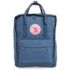 Fjällräven Women's Fjällräven 'Kånken' Water Resistant Backpack ($71) ❤ liked on Polyvore featuring bags, backpacks, accessories, air blue, backpacks bags, long bags, fjällräven, blue bag and fjallraven rucksack