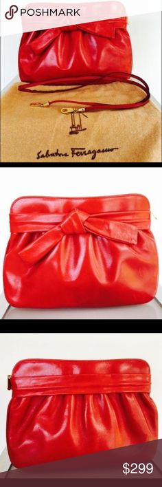 5b4612db9c1b 100% Authentic Salvatore Ferragamo Red Clutch 100% Authentic Salvatore  Ferragamo Vintage Red Clutch Color