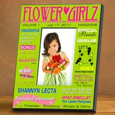 Could this be any cuter? Our personalized Flower Girl Magazine Cover Frame is a wonderful keepsake f