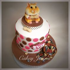 Triple vanilla and raspberry layer birthday cake for a little girl who loves hamsters Crazy Cakes, 2 Tier Birthday Cakes, Sweet 16 Cakes, Fondant Animals, Animal Cakes, Just Cakes, Cute Cupcakes, Cake Icing, Occasion Cakes