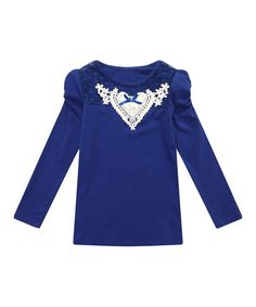 This Blue Lace Appliqué Puff-Sleeve Tee - Toddler & Girls is perfect! #zulilyfinds