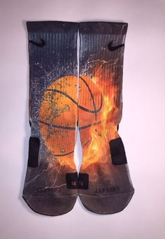 Custom made, full graphic water & fire basketball socks for kids, adults, male or female. Perfect socks for any sport or just for fashion #basketballforkids
