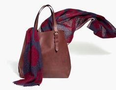 madewell portland tote in mahogany + the softdot scarf. #totewell