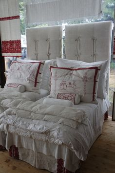 Pandora de Balthazar's linens - headboard(s) to die for... LOVE the oversized pillows - redwork pillows: Easy DIY!