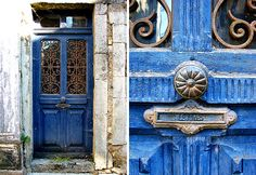 Wonderful blue color on this door!  ~Deborah  Buying a House in Burgundy, HiP Paris Blog, Photo by Andree & Edward