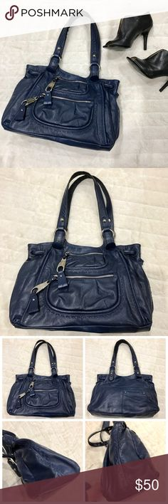 """B. Makowsky Leather Handbag B. Makowsky Leather Handbag. Dark blue soft leather, silver tone hardware,double handles, magnetic closure, 2 front zip pockets, & 1 slip pocket on the back. Clean interior features two large section separated by a zipper pouch, 2 slip pockets, & a zipper pocket. Good condition. 10"""" strap drop length. b. makowsky Bags Satchels"""