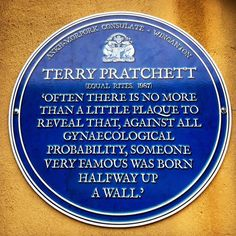 Although you were not born halfway up a wall, your commemorative plaque outside the Emporium reminds us… Terry Pratchett Discworld, Book Quotes, Quotes Quotes, Book Lovers, Good Books, Geek Stuff, Writing, Reading, Words