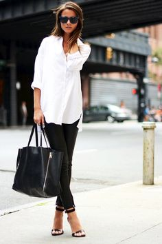 blue sunglasses, oversized white button-down shirt, tote leather pants & sandals #style #fashion #casualchic #blackandwhite