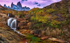 Download wallpapers waterfall, Andes, mountains, Santa Cruz, mountain landscape, Argentina, Patagonia