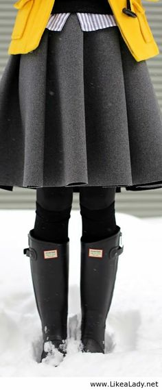 wool skirt, bright, toggle coat