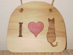 Wood burned Cat Wall Hanging Woodburned Cat by SpoiledFelinesArt