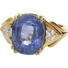 #MondayBlues #VintageBeginsHere at www.rubylane.com @Rubylanecom -- Sapphire Diamond Engagement Ring | 18K Yellow Gold | Vintage Blue Oval