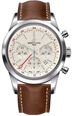 Breitling Transocean Chronograph GMT Silver Dial Brown Leather Men's Watch AB045112-G772BRLT - Transocean - Breitling - Watches - Jomashop