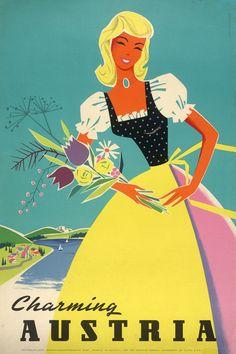 ... charming austria poster by ilse jahnass, 1958.