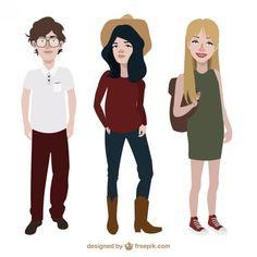 Adolescentes con diferente estilo de ropa Vector Gratis