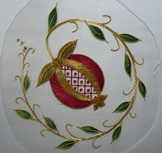 California Stitching: Finishing the Golden Pomegranate Crewel Embroidery, Embroidery Patterns, Gold Work, Decorative Plates, It Is Finished, Quilts, Crochet, Wear Red, Pomegranates