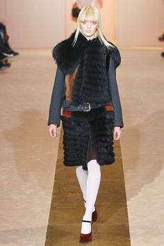 This coat is an example of the shape of all the coats at #Marni.  Dropped-waist flapper style, but really bulky.  #MFW