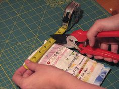 Love this metal tape idea.  How do you do this again?: Selvege Snap Bag Tutorial