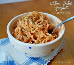 Million Dollar Spaghetti Casserole - This is such an easy and delicious casserole. It's easy to throw together and it reheats very well. You could add meat if you desire or just leave it meat free for a meatless meal.
