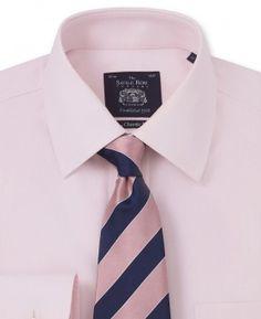 Non-Iron Pink Herringbone Classic Fit Shirt – Single Or Double Cuff - 962PNK…
