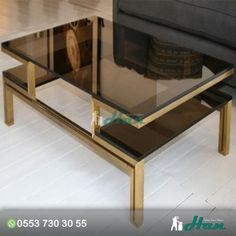 Coffee Table, French Smoked Glass And Brass Tables Large Coffe Table Flat Square Dark Side Storage Light Brown Feet Table: Elegant Design Of Brass Coffee Table, Glass Top Coffee Table, Coffee Table Design, Glass Table, Home Decor Furniture, Furniture Making, Furniture Design, Center Table, Interior Design