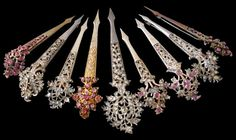 Collection of Nine Silver & Gold Kondakoora Hairpins/Brooches Set with Semi Precious Stones